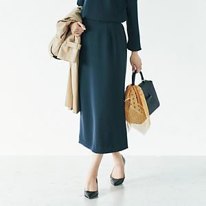 【洗える】ゴムベルトIラインスカート¥12,000+税