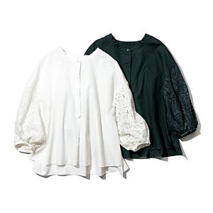 袖レースバンドカラーシャツ