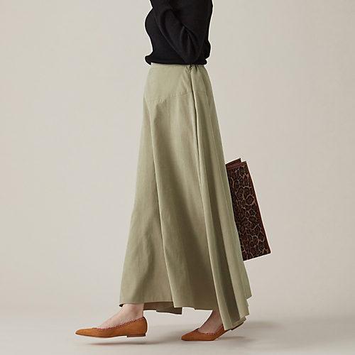春夏に大ヒットしたキレイ色スカートが、秋冬素材で発売! 【手洗い可】微起毛ロングフレアスカート