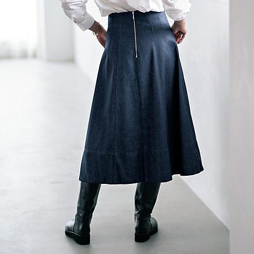 【洗える】Aライン デニム フレアスカート  ¥13,800 + 税