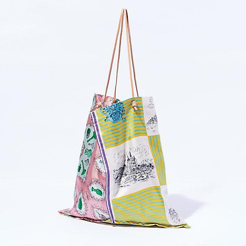 manipuri/PRINTE LARGE TOTE パネルスカーフトートバッグ/¥16,000+税