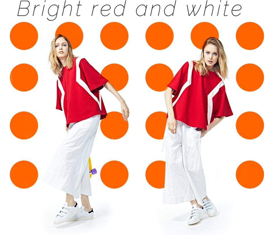 Bright red and white
