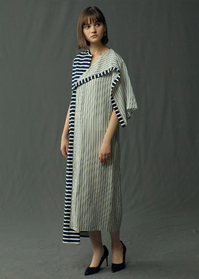 for Bridesmaid | JW ANDERSON/ASYMMETRIC STRIPED JERSEY SILK DRESS