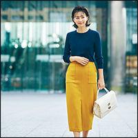 太リブクルーネックニット&ポケットデザインタイトスカート