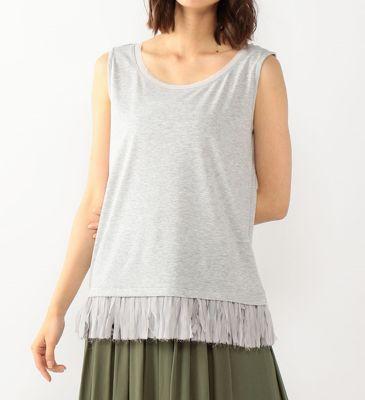 綿モダール裾フリンジレースカットソー
