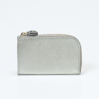 角シボ型押しメタリックレザー・キー&コインケース