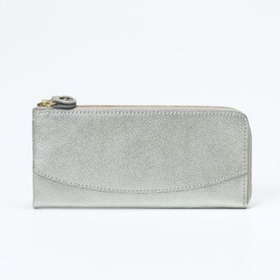 角シボ型押しメタリックレザー・L字型長財布