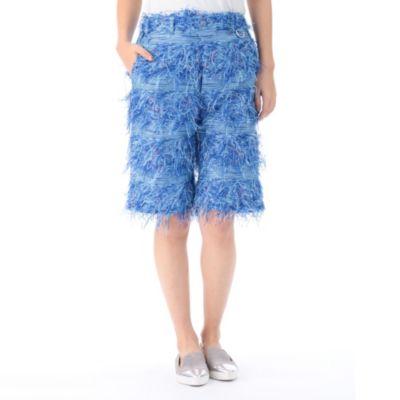 Horizontal Stripe Cut Inside Out Jacquard Short Pant