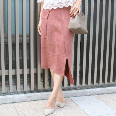 アシンメトリースウェードスカート