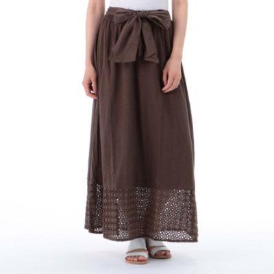 刺繍+スラブ天竺スカート