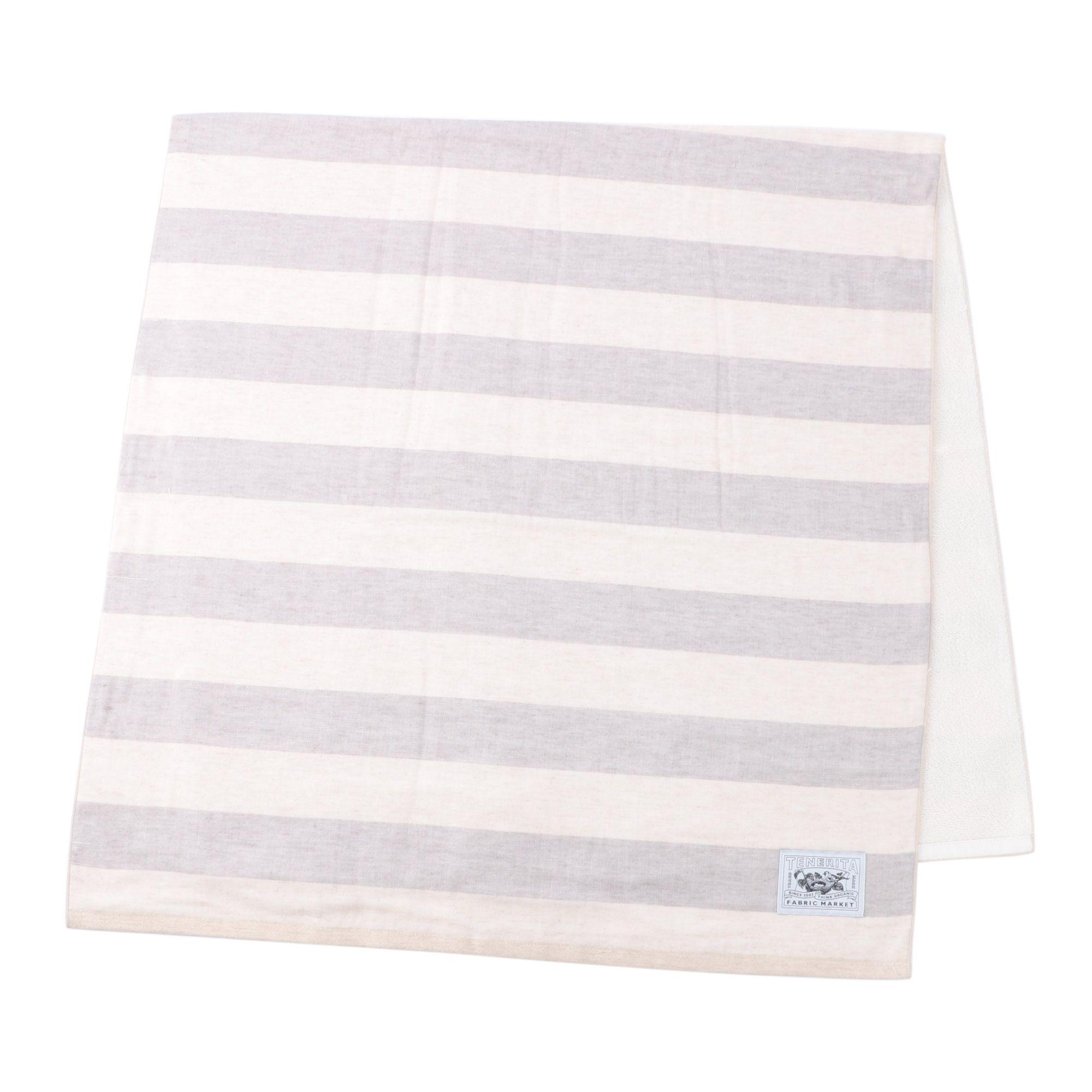 綿麻ボーダー バスタオル