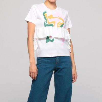 ラッフルプリントTシャツ