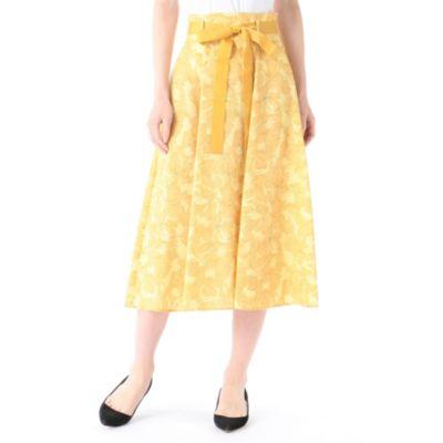 花柄ハイウエストミモレスカート