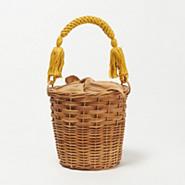 50代ファッション カラー布ハンドル かごバッグ,MARCHER