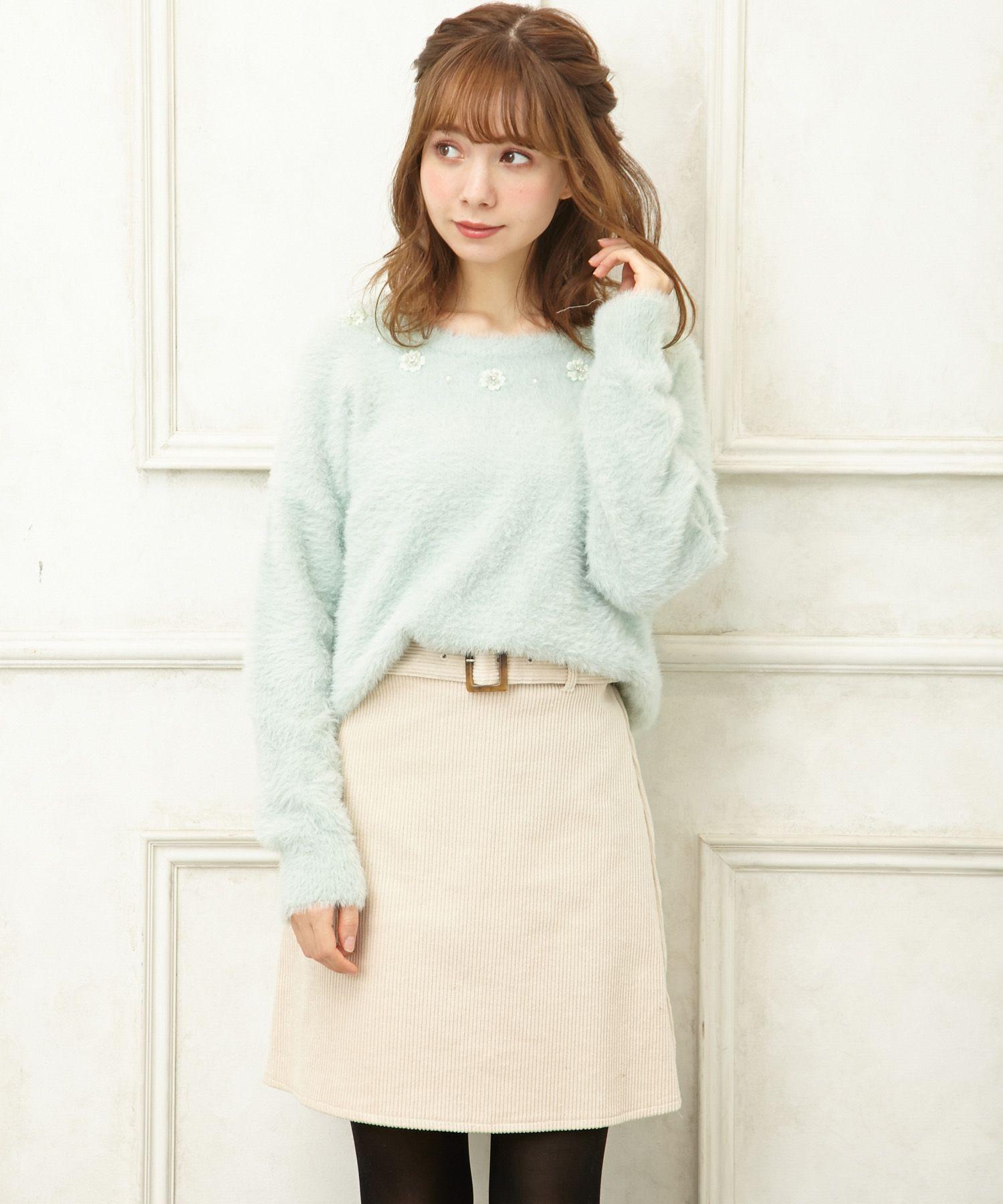 INGNIイング/コーデュロイベルト付き台形スカート