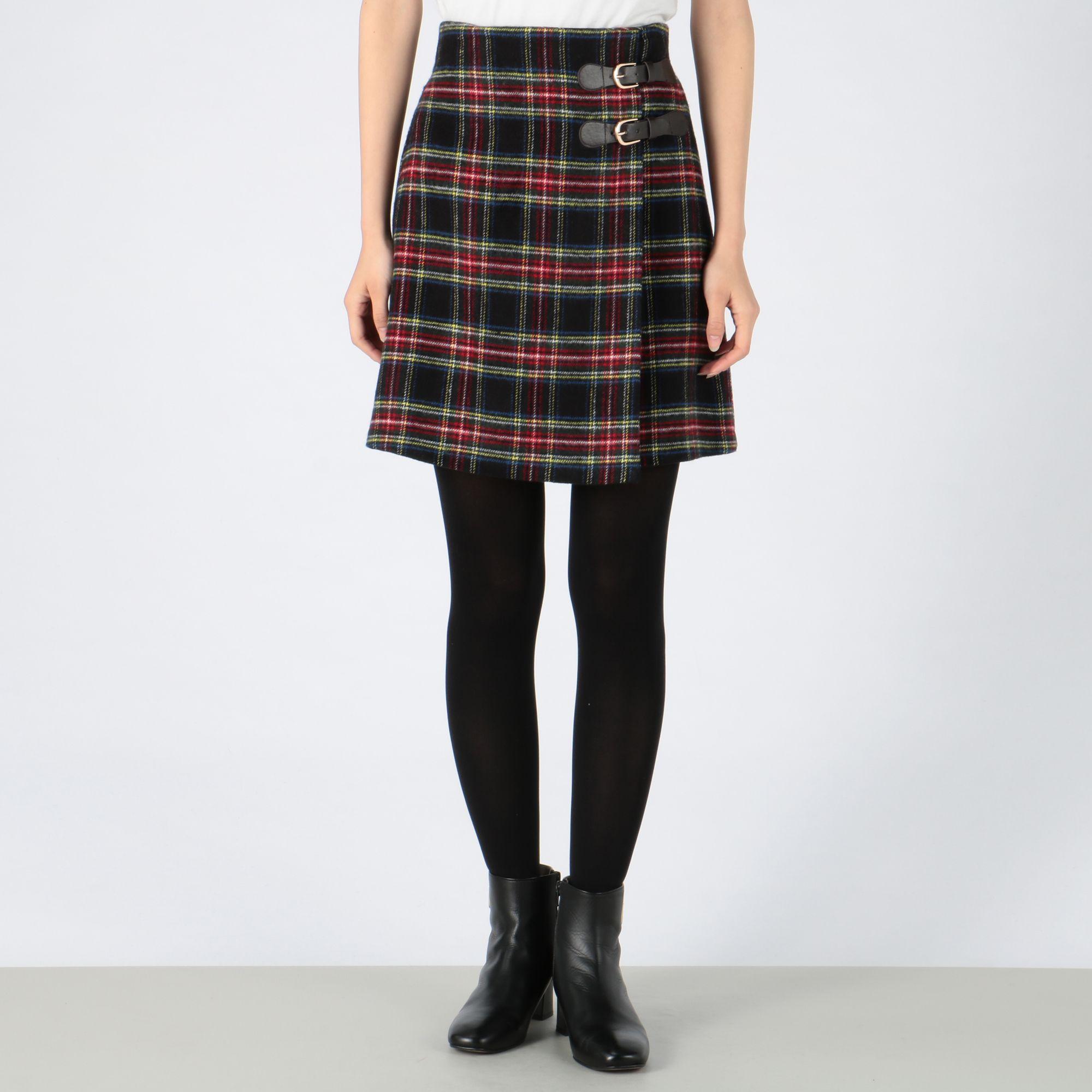 INGNIイング/サイドベルトシャギーチェック柄台形スカート