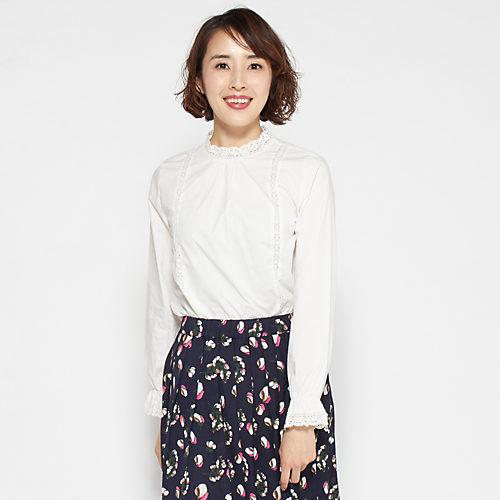 Flower Days/綿ローンレース付きブラウス/¥4,900+税