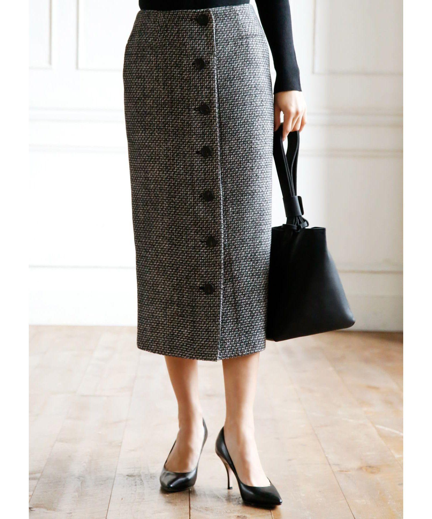 STYLE DELIスタイルデリ/ミックス織りフロントボタンペンシルスカート