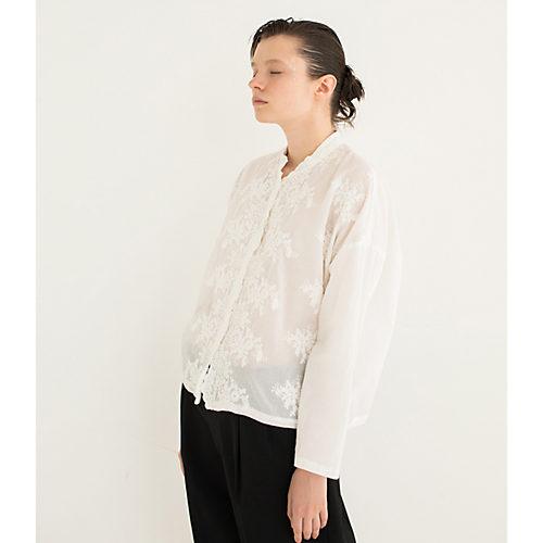 mizuiro ind/レーススタンドカラーワイドシャツ/¥15,000+税