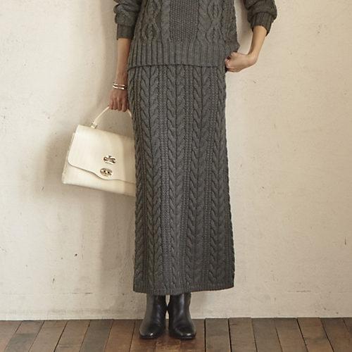 M7days (エムセブンデイズ)ケーブル柄ニットスカート