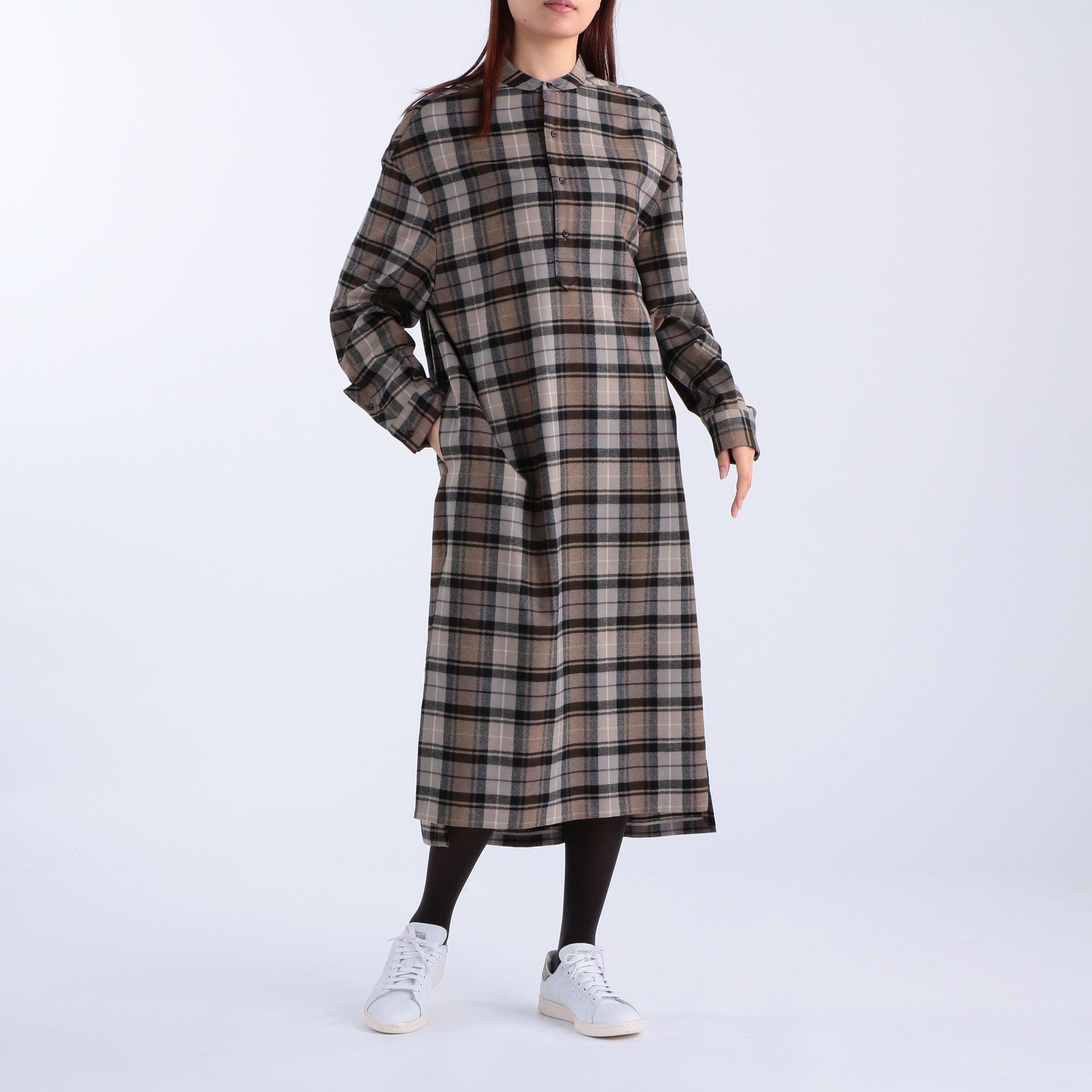 <集英社> チェックウールロングシャツドレス画像