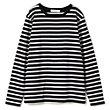 Munichコラボレーション【使える】シルク見えキレイ目ボーダーロングTシャツ