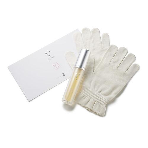 手荒れもくすみもムクミもシワも手袋美容液で手指エイジングケア ヴイセラム ハンド01 通常サイズ(27g) + 京都西陣の絹糸屋 おやすみ手袋セット