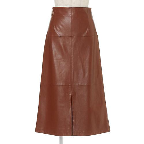 合成皮革の素材のAラインスカート エコレザーフレアースカート