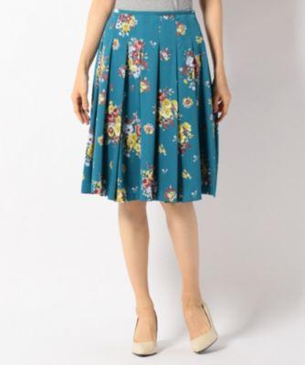 【洗える】ヴィンテージフルールプリント スカート