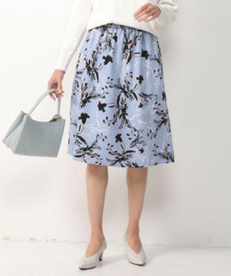 【洗える】リーフフラワープリント フレアスカート