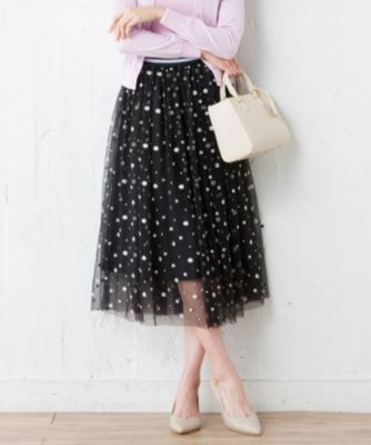 【洗える】ドットフルールチュール スカート