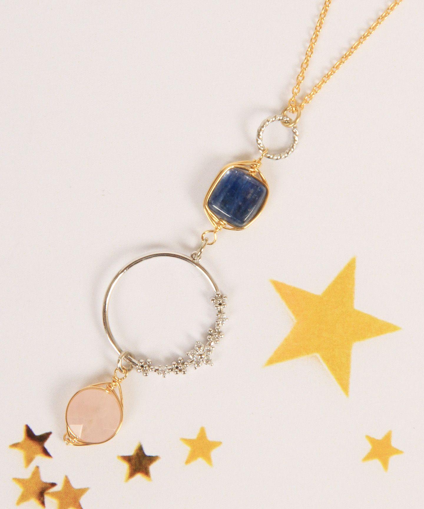 WYTHE CHARM(ワイスチャーム)/【ゴールド×シルバー】K14GF 花リングピンク×ブルーネックレス