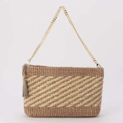 ミックス編みカゴクラッチバッグ
