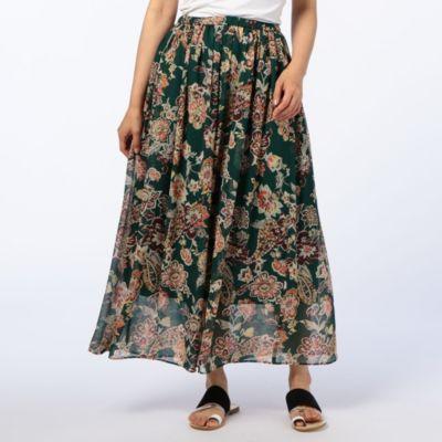 フラワーペイズリープリントスカート