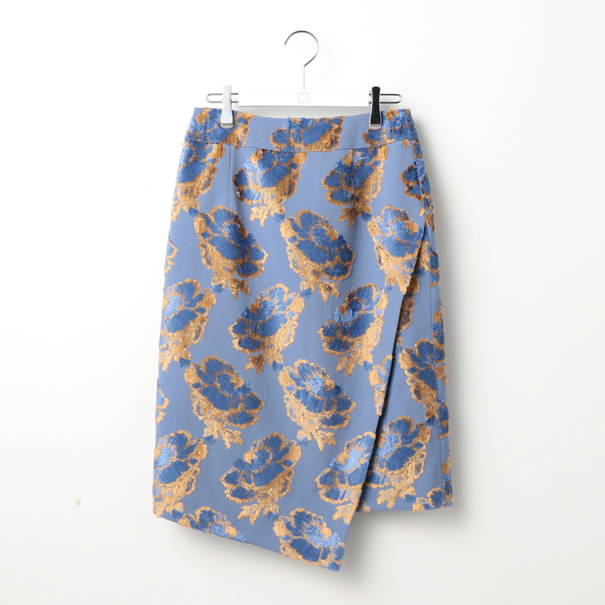 Ravissant Laviereラヴィソン ラヴィエール/フラワーパイルジャガードタイトスカート