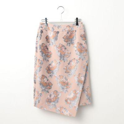 フラワーパイルジャガードタイトスカート
