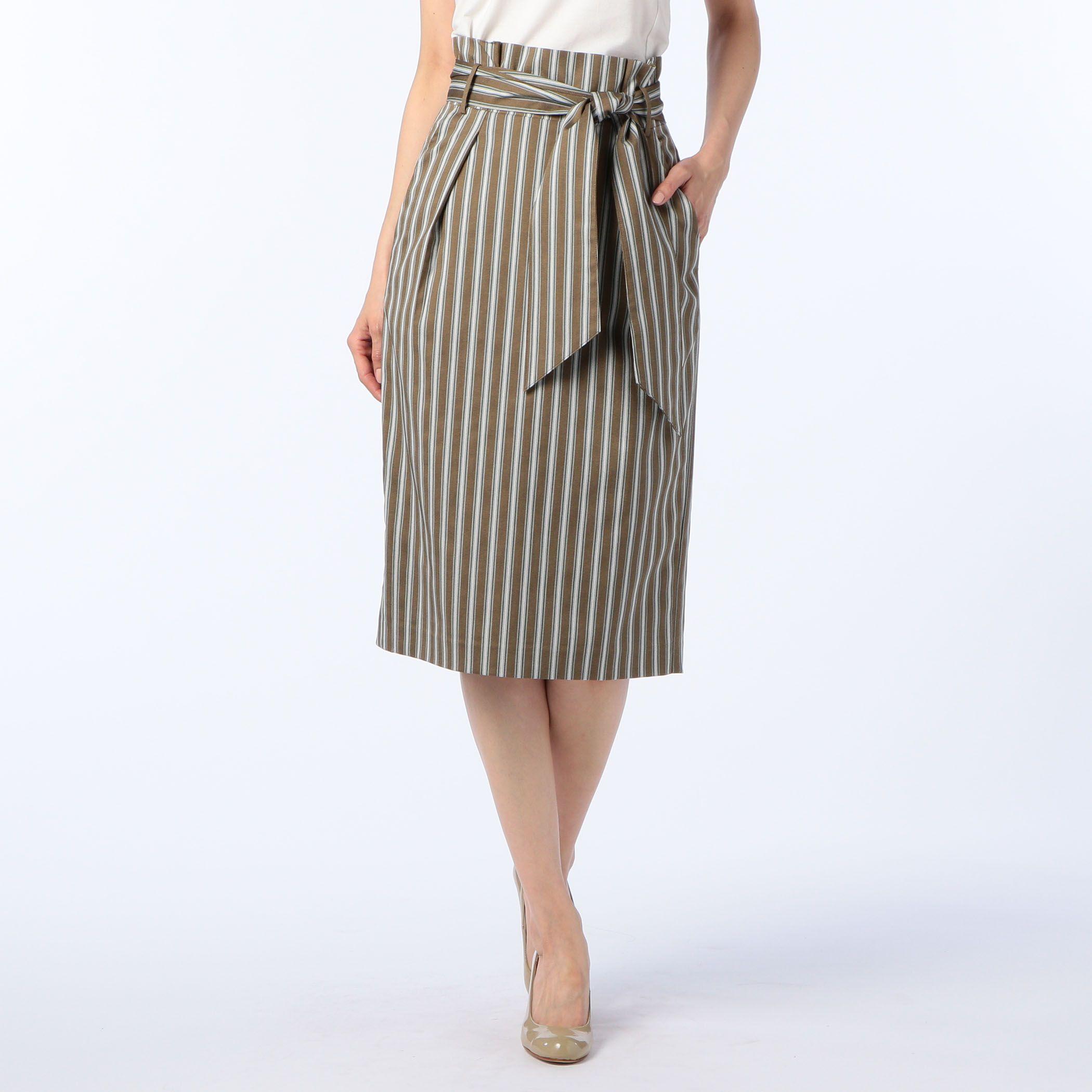 NOLLEY'S sophiノーリーズソフィー/リボン付ストライプスカート