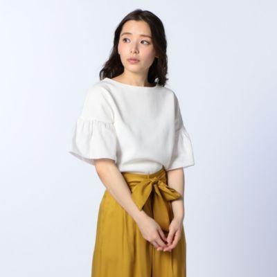 18Gミラノリブ布帛袖プルオーバーニット
