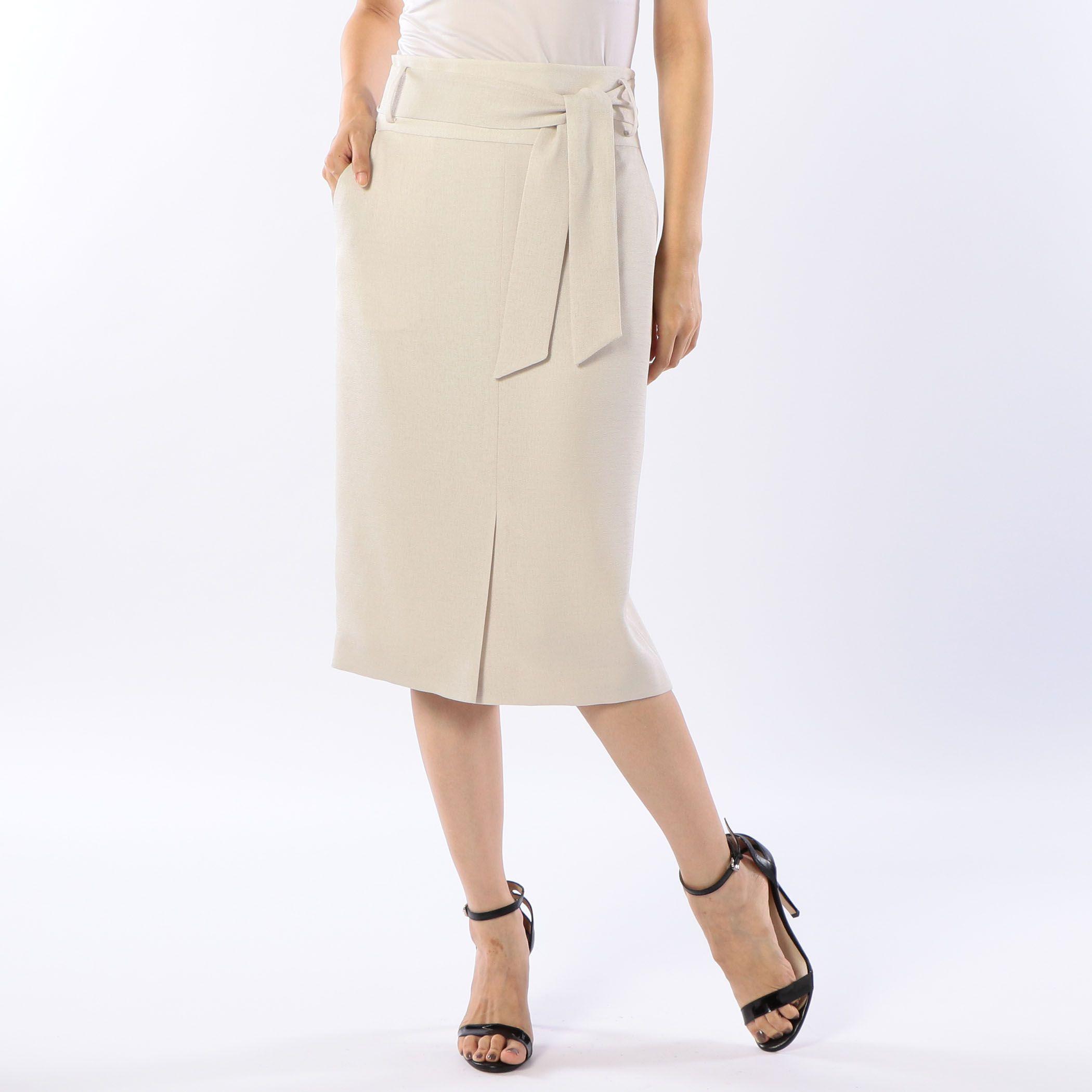 NOLLEY'Ssophiノーリーズソフィー/麻調ツイルタイトスカート