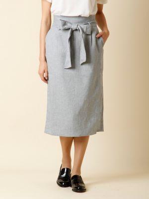 リボンベルト付きIラインスカート