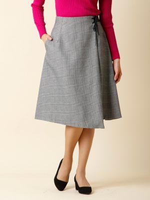 【秋の新作】レースアップグレンチェック柄スカート