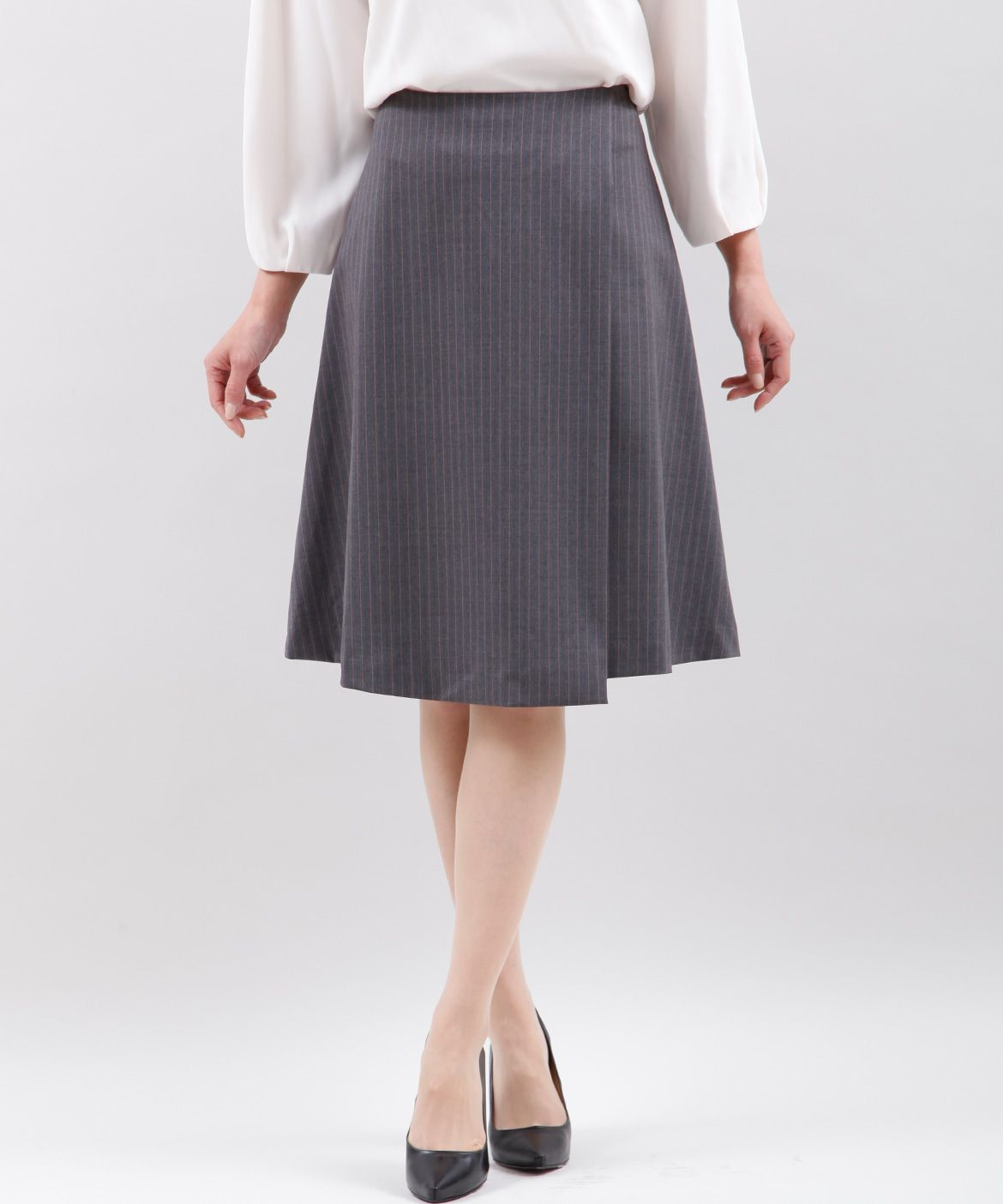 INED(イネド)/ラップ風ピンストライプスカート