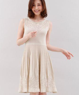 【春の新作】《Maglie collection》透かし編みニットワンピース
