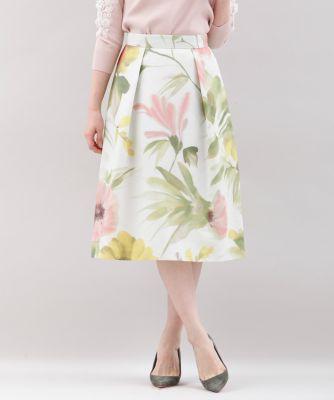 【春の新作】《Maglie White》水彩フラワープリントスカート