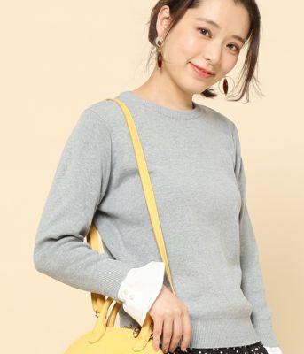 【2WAY】袖カフス付ニットプルオーバー