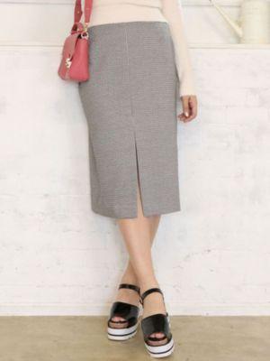 ギンガムチェックミディタイトスカート