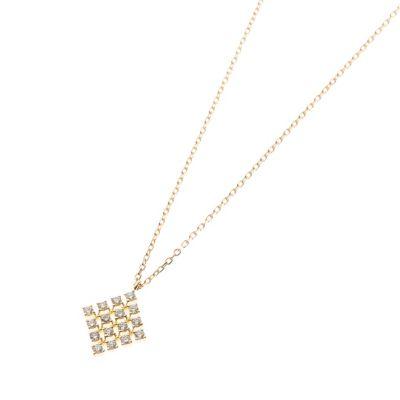 (K18)ダイヤモンド レース菱型モチーフ ネックレス大