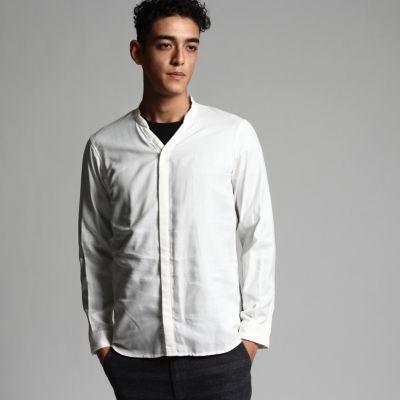 テンセルウール バンドカラーシャツ