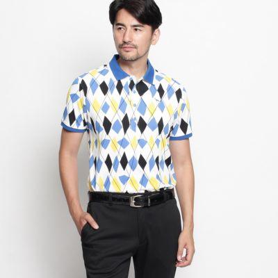 変形アーガイルプリント半袖ポロシャツ