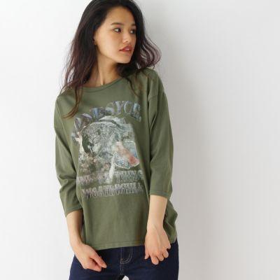 オオカミプリントTシャツ
